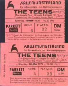 Konzertticket, The Teens, Münster, Halle Münsterland, 10.06.1979