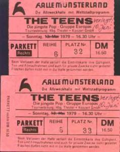 Konzertticket, The Teens, Münster, Halle Münsterland, 10.06.1979